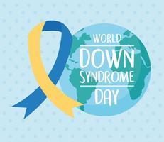 giornata mondiale della sindrome di down. pianeta e nastro di consapevolezza
