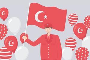festa della repubblica della turchia. eroe soldato con bandiera vettore