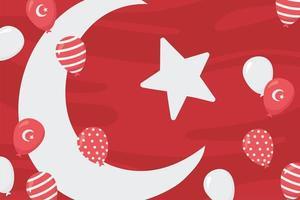 festa della repubblica della turchia. bandiera, luna, stella e palloncini vettore