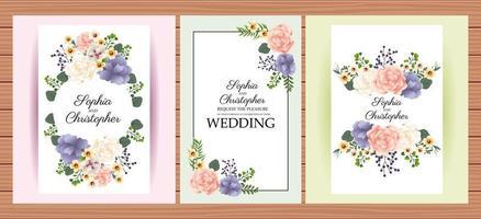 set di inviti di nozze floreali verticali