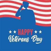 Felice giorno dei Veterani. soldato americano e bandiera americana