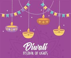 felice festival di diwali. appendere lampade e candele diya
