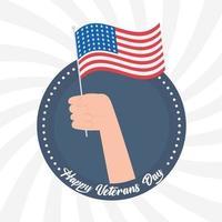 Felice giorno dei Veterani. mano che tiene la bandiera americana