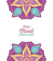 felice festa delle luci di diwali. decorazione floreale mandala