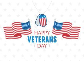 Felice giorno dei Veterani. bandiere, gettone dell'esercito e stelle