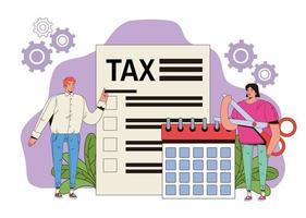concetto di pagamento delle tasse con persone e calendario