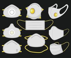 set di maschere per il viso mediche vettore