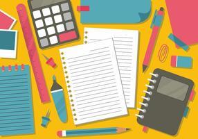 Vista dall'alto tavolo e disegno vettoriale di note
