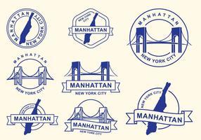 Francobolli della città di Manhattan, New York City vettore