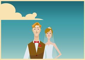 Ritratto di illustrazione sposa e sposo vettore