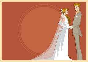 Sposa e sposo che si levano in piedi insieme vettore