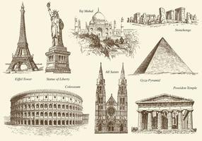 Vettore dei monumenti di vecchio stile