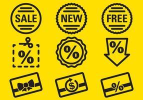 Icone delle etichette delle percentuali vettore