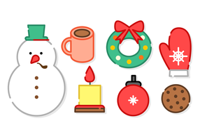 Vettore di elementi di Natale minimalista