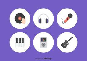 Insieme di vettore delle icone di musica piatta