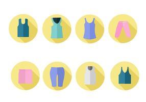 Vettore libero delle icone dei vestiti di sport delle donne