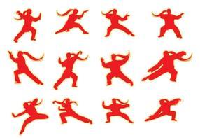 Vettore libero di posa di Wushu delle siluette