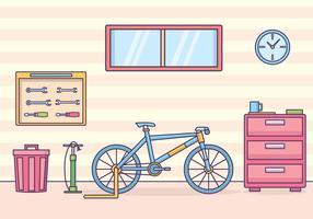 Illustrazione di officina di biciclette