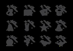 Vettore magico delle icone degli elementi e del bastone