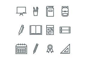 Icone della scuola delineate vettore