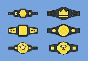 Set di icone vettoriali cintura di campionato