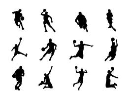 Silhouette di pallacanestro vettori