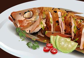 pesce fritto sul vettore di piatto