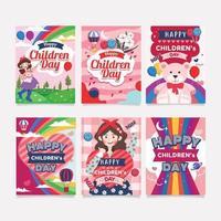 collezioni di card design happy children day vettore