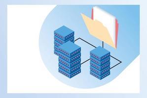 tecnologia big data con server e cartelle vettore