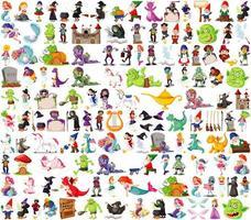 set di personaggi dei cartoni animati fantasy vettore