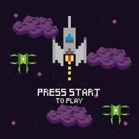 scena spaziale del videogioco con messaggio di inizio stampa vettore