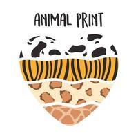 cuore a forma di modello di stampa animalier