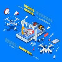 composizione isometrica di droni vettore