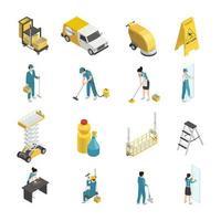 icone isometriche di servizio di pulizia vettore