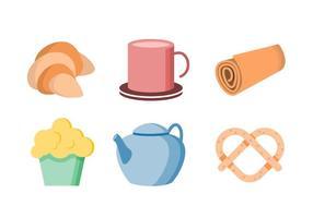 Vettore sveglio sveglio degli oggetti di tempo del tè