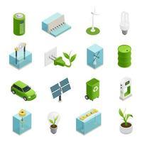 icone isometriche di ecologia di energia verde vettore