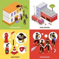 set da 4 pompiere vettore