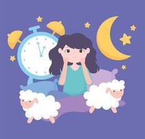 ragazza preoccupata a letto con pecore e orologio
