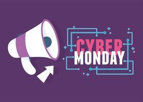 cyber lunedì. pubblicità del megafono e fare clic sulla freccia
