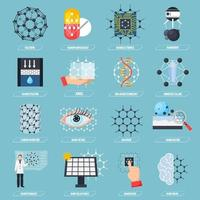 set di icone di nanotecnologia vettore