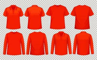 set di diversi tipi di magliette dello stesso colore