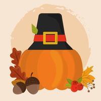 felice giorno del Ringraziamento. zucca con cappello da pellegrino