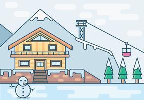 Un'illustrazione di una località di soggiorno di vacanza in inverno vettore