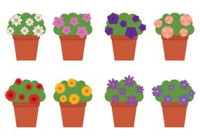 Fiori all'aperto in vasi da fiori vettore