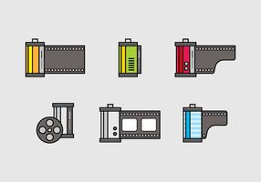 Insieme di vettore dell'icona della scatola metallica del film