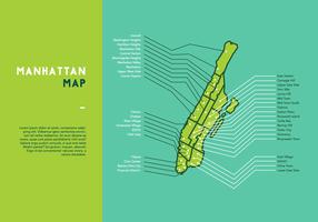 Vettore di mappa di Manhattan verde