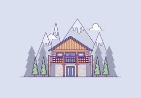 Casa in legno di fronte a una montagna vettore