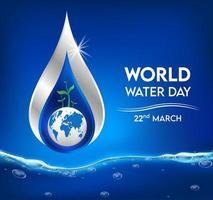 banner della giornata mondiale dell'acqua con goccia d'acqua vettore