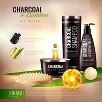 design di poster per la cura del bagno botanico naturale vettore