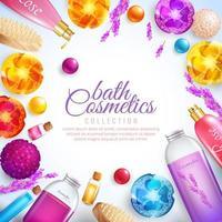cornice di prodotti cosmetici da bagno